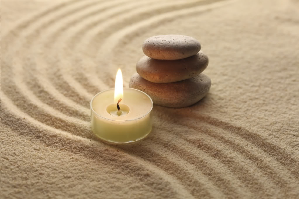 Meditation candle and stones