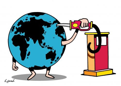 Cartoon_Earth_Drinking_Oil