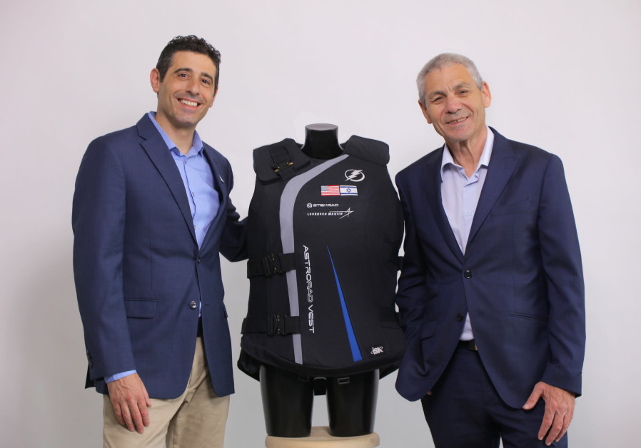 StemRad CEO Dr. Oren Milstein L and Israel Space Agency director general Avi Blasberger with the AstroRad radiation protection vest
